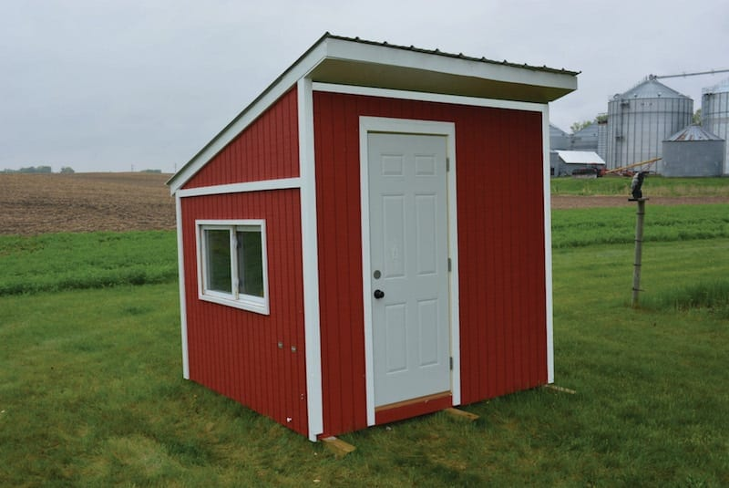 red chicken coop