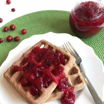 cranberry sauce on waffles
